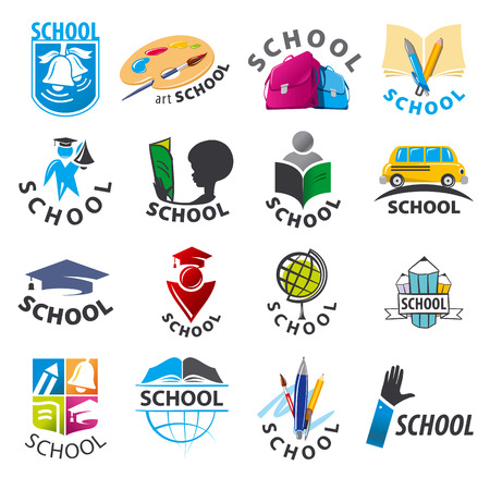 backpack school: large set of vector logos School