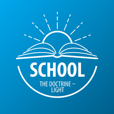 school globe: vector logo book and sun with rays Illustration