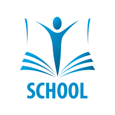 school globe: vector logo education people in the book