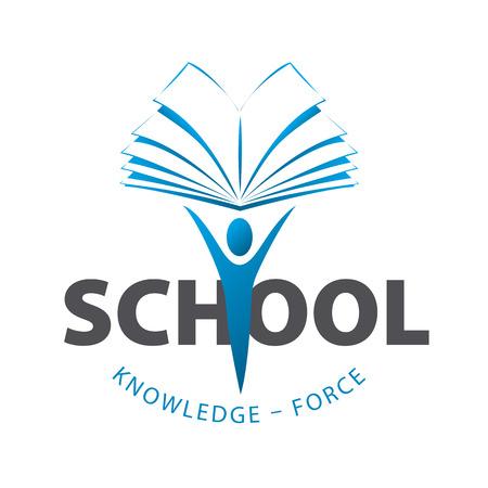 onderwijs: vector logo man die een boek Stock Illustratie