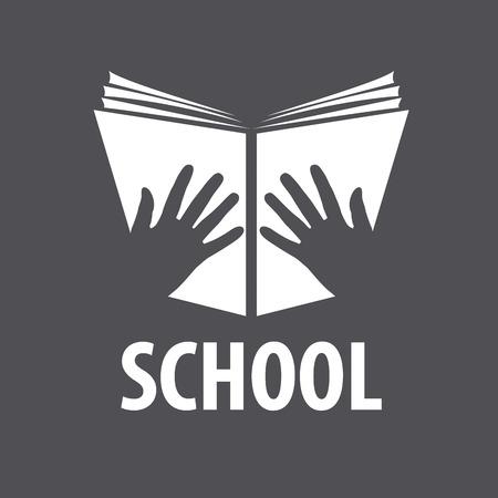 educacion: vector logo libro abierto en sus manos Vectores