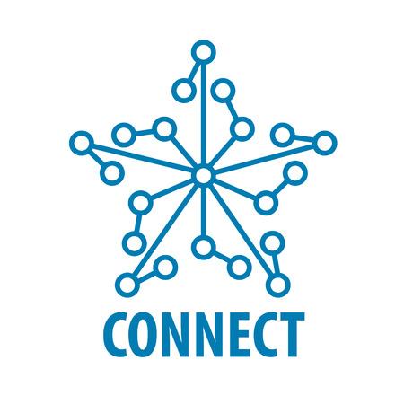 通信: ベクトルのロゴは、スター型ネットワークに接続します。