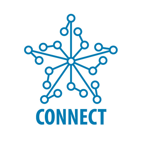 information technology logo: vector logo connect to the star network