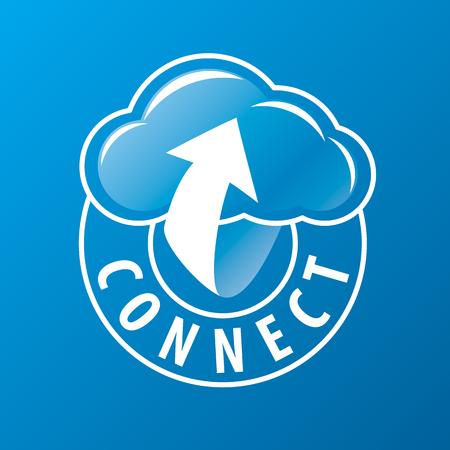 conectividade: Logotipo do vetor da nuvem de conectividade e flecha