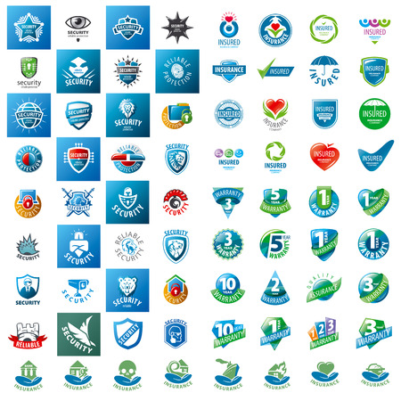 grote set van vector logo's veiligheidsgaranties en verzekeringen Stock Illustratie