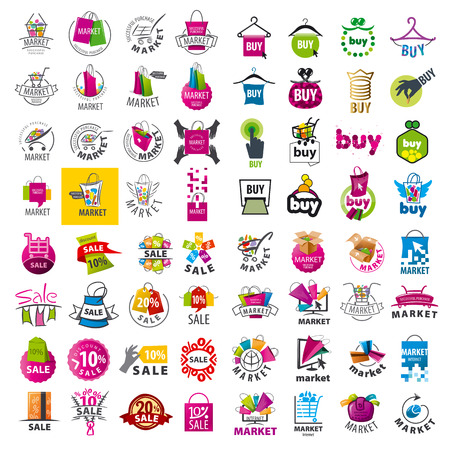 shopping bag icon: large set of vector logos market and discount