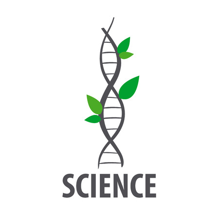 dna laboratory: logo vector DNA in form of plant leaves