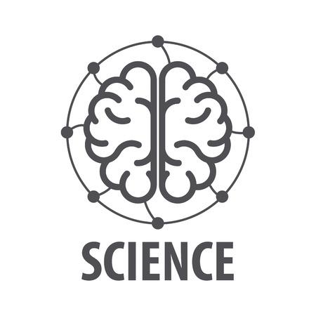 cerebro: vector logo cerebro y cables eléctricos