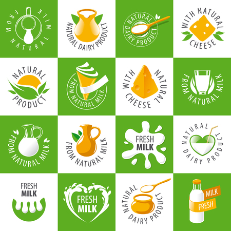 art product: large set of vector logos dairy products