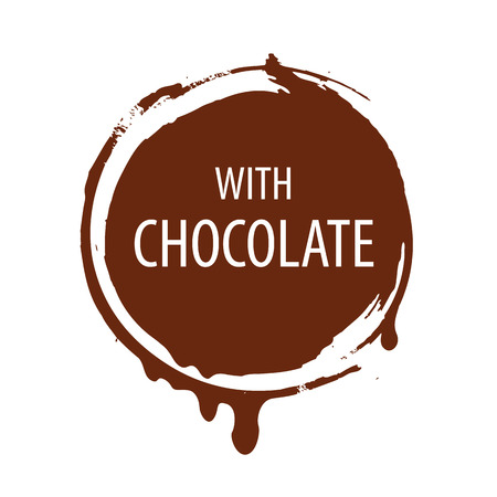 melting chocolate: vector logo round seal for chocolate
