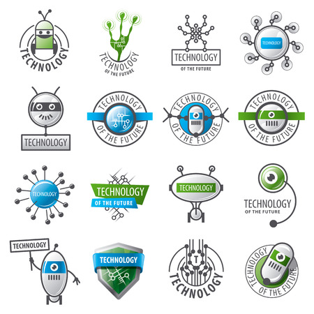 robot with shield: large set of vector logos robots and new technologies