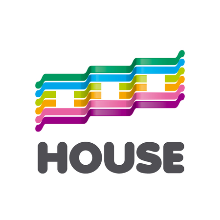 houses: vector logo striped colorful houses
