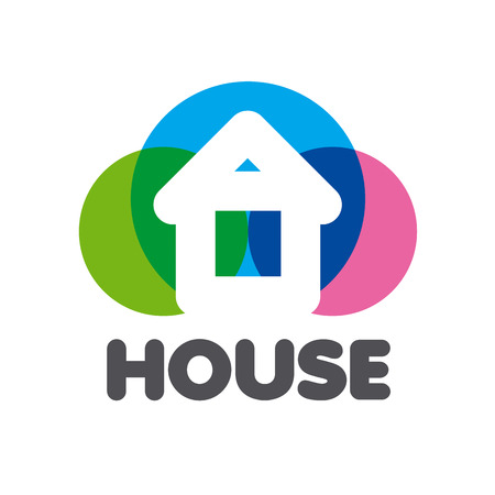 background house: vector logo house on a background of colorful circles Illustration
