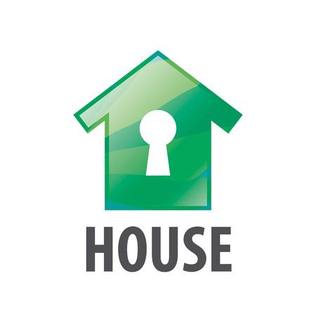 house logo: vector logo green house and keyhole