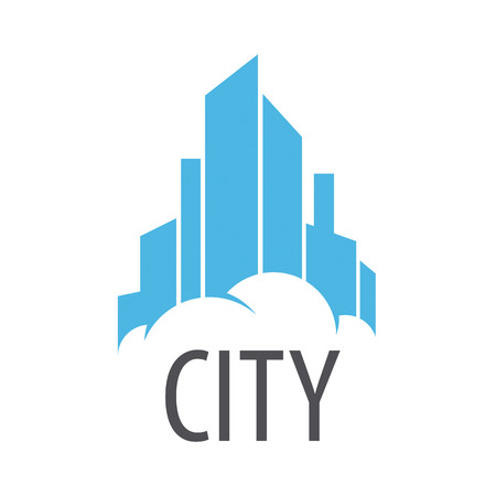 cloud industry: vector logo Blue City on the cloud