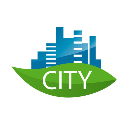 silhouette city: vector logo city on a green leaf Illustration
