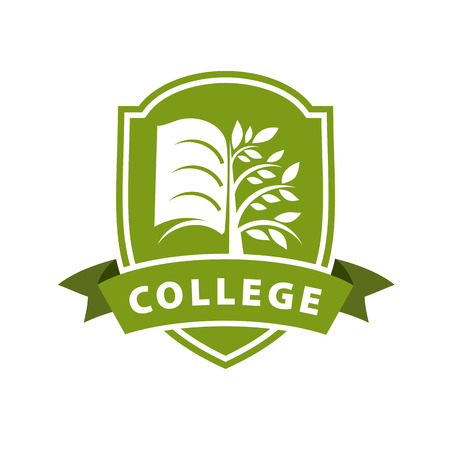 vector logo tree and the book for college Illustration