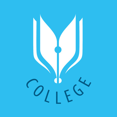 Abstract vector logo nib and books for college