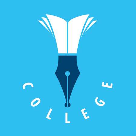 vector logo nib and books for college
