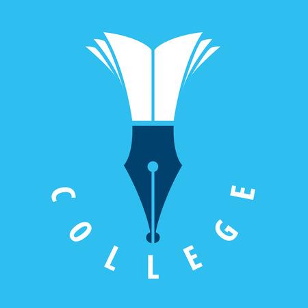 vektorové logo hrot a knihy pro vysoké školy