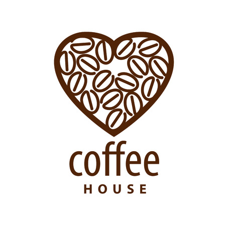 abstract food: vector  coffee beans in the shape of heart Illustration
