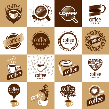 large set of vector logos coffee