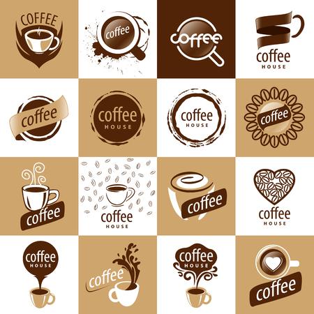 벡터 로고 커피의 대형 세트