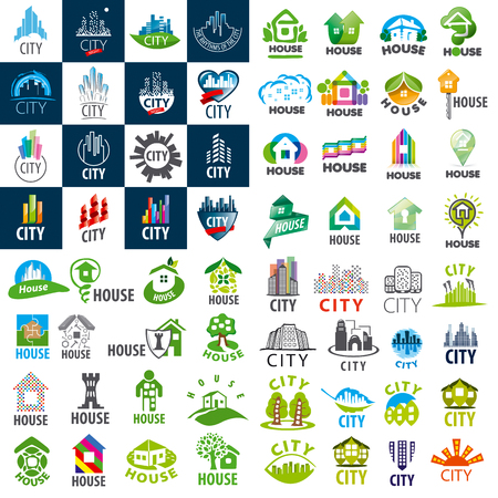 construction symbol: large set of vector icon homes and cities