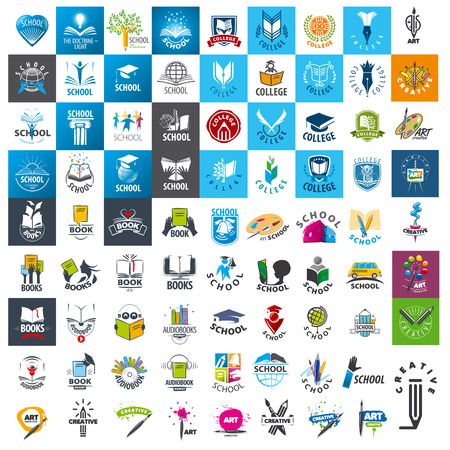 child education: large set of vector icon school and books