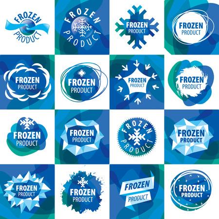 alimentos congelados: gran conjunto de iconos de vectores para los productos congelados
