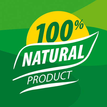 Abstract vector icon for organic food on a green background