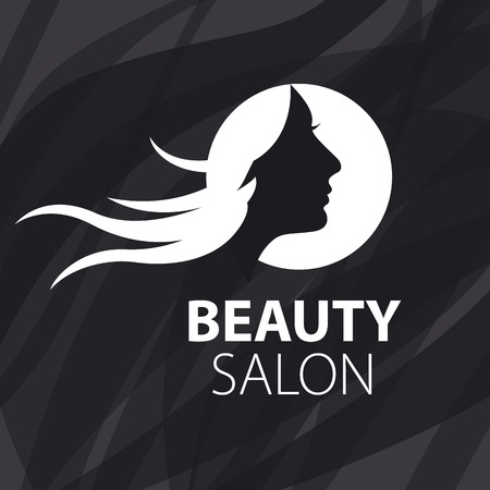 flying hair: vector logo girl with flying hair on a black background Illustration