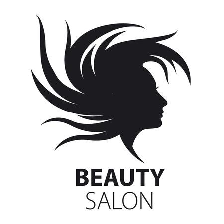 beauty women: vector logo chica con el pelo volando para sal�n de belleza