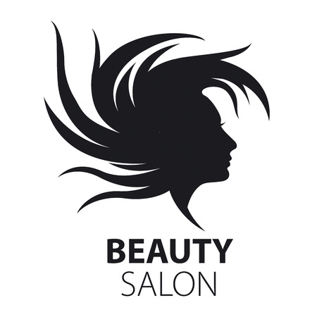 hair product: vector logo girl with flying hair for beauty salon