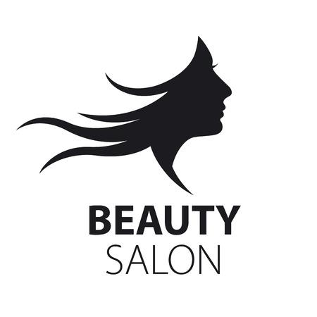 hair spa: vector logo girl with flying hair