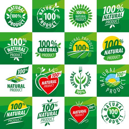 großen Satz Vektor-Logos für Naturprodukte Logo