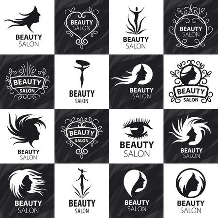美女: 大套的矢量標誌的美容院 向量圖像