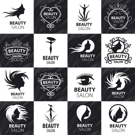 beauty girl pretty: large set of vector logos for beauty salon