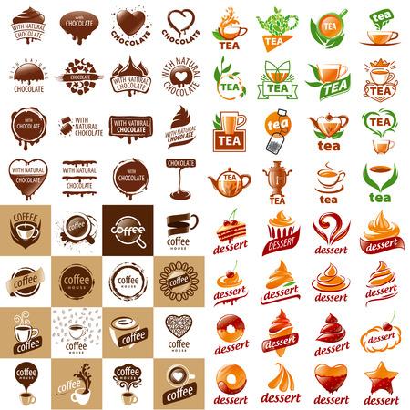 pasteles: gran conjunto de vector logos bebidas calientes y postres
