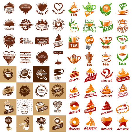 pastry: large set of vector logos hot drinks and desserts