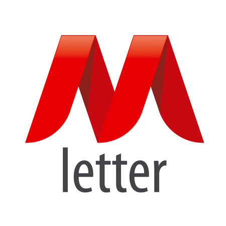 logo red ribbon in the shape of the letter M