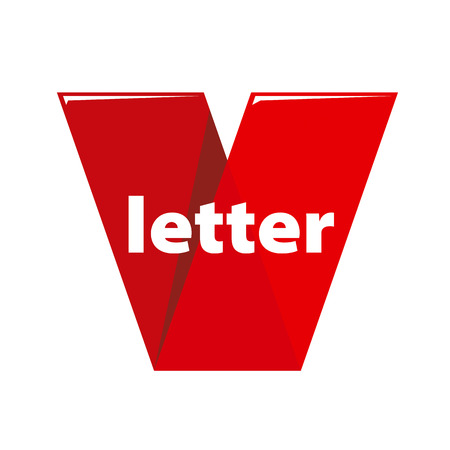 red tape: vector logo the letter V in the form of red tape