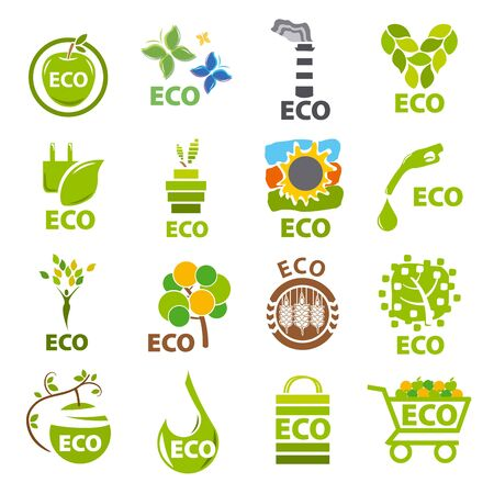 apples basket: biggest collection of vector logos eco Illustration