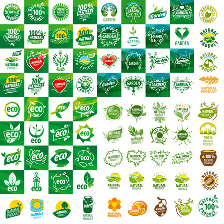 large set of vector logos for natural products  イラスト・ベクター素材