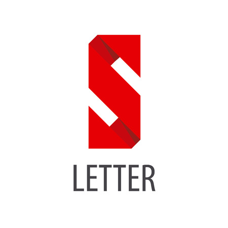s shape: vector logo red ribbon in the shape of the letter S Illustration