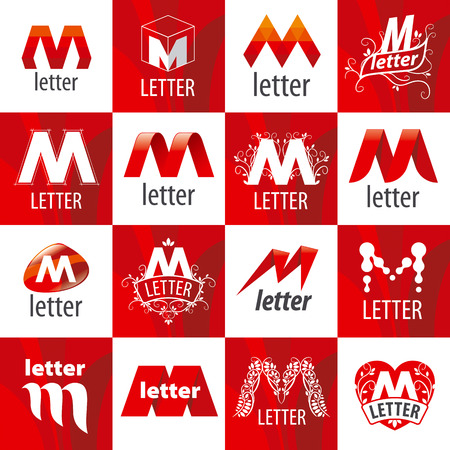 creativity logo: large set of vector logos letter M