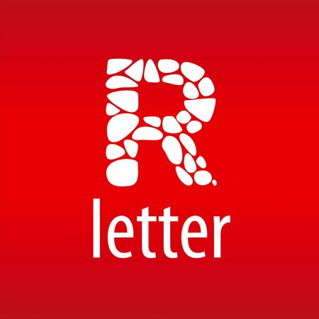 r: Abstract vector letter R with stones Illustration