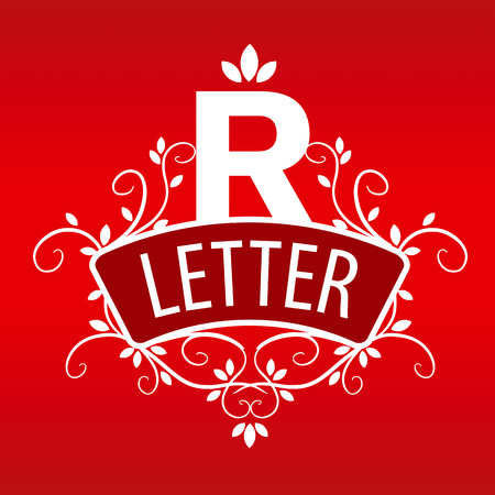 vegetative:  letter R with a vegetative ornament on a red background