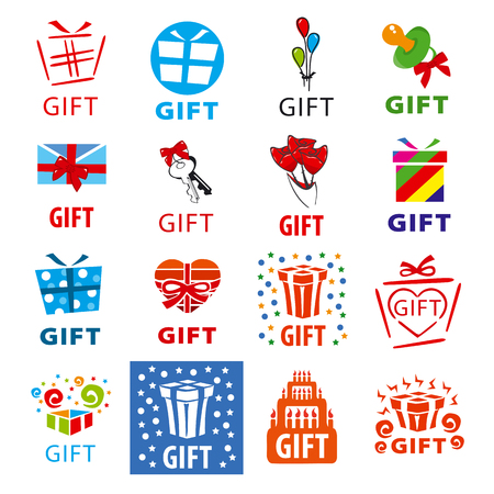 gift ribbon: large set of vector logos gifts
