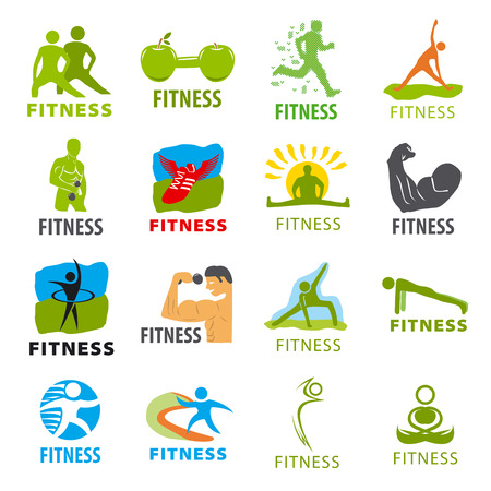 health and fitness: large set of vector logos for fitness